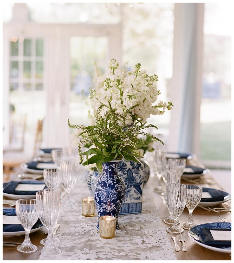 Crystal And White Wedding Theme: Wedding Reception Design With An Uncovered Wooden Table