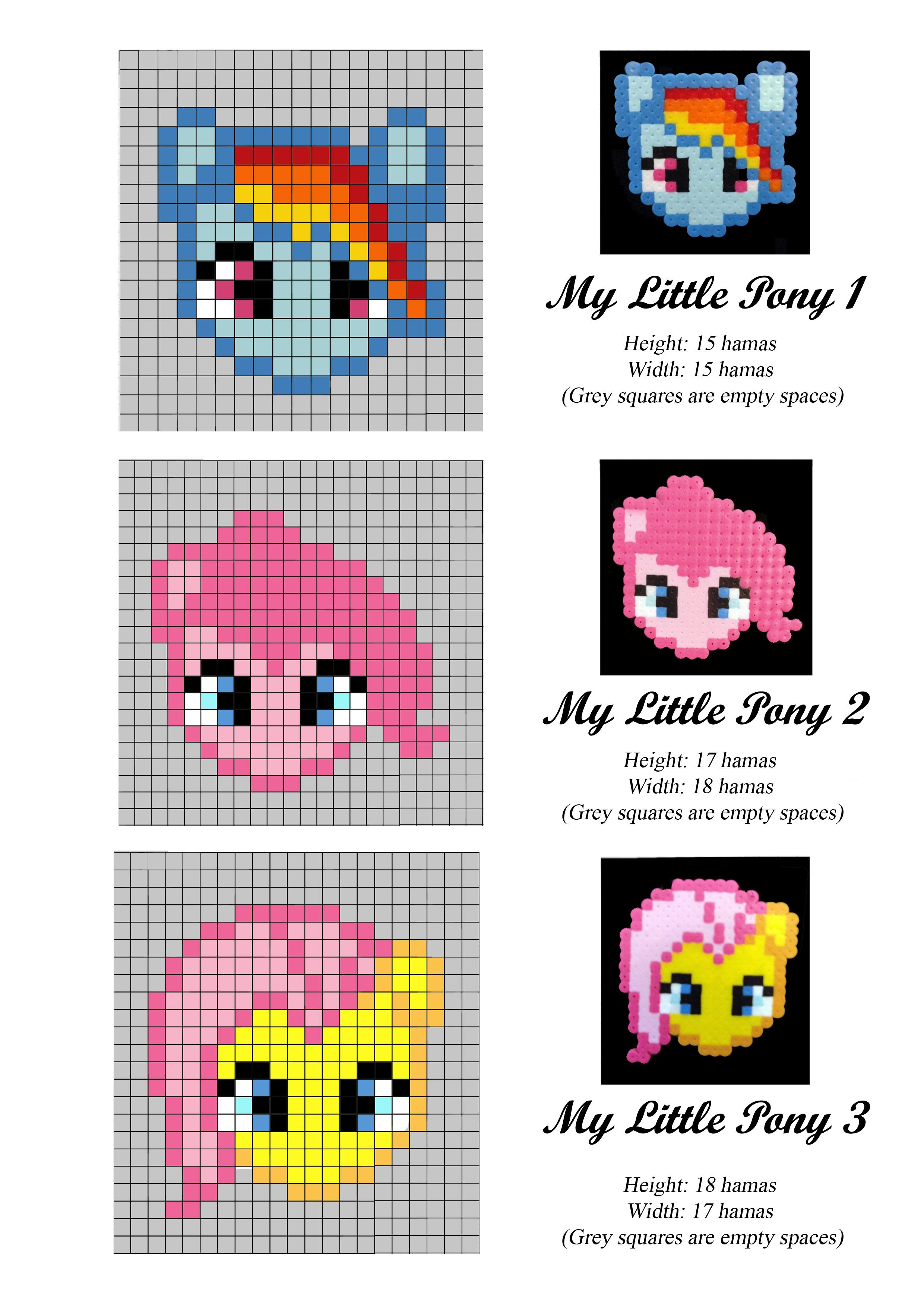 My Little Pony - hama perler beads - pattern yellow pony with teal ...