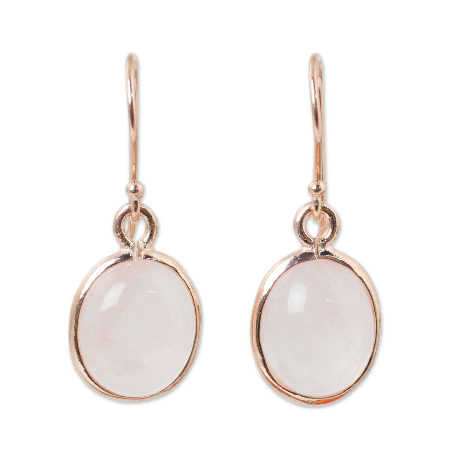 Amazon.com: NOVICA Rose Gold Plated Sterling Silver and Rose Quartz Dangle Earrings, 'Morning Rose': Jewelry