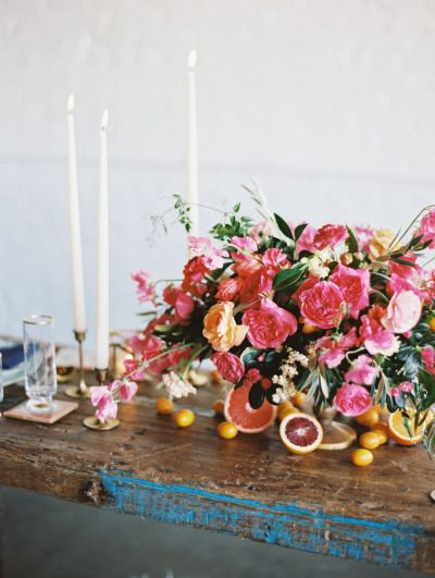 Wood and bright florals: http://www.stylemepretty.com/2015/04/17/inspired-by-the-mediterranean-color-palette/ | Photography: Ashley Sawtelle - http://ashleysawtelle.com/