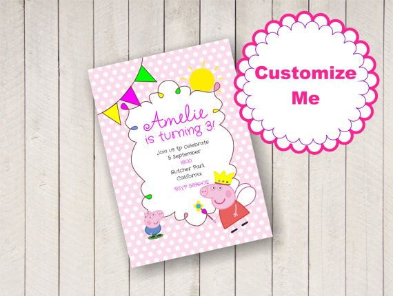 Customizable Peppa Pig Party Invitations You Can Customize Them Directly Inside The PDF File By Clicking On Sample Text Fonts Are Embedded