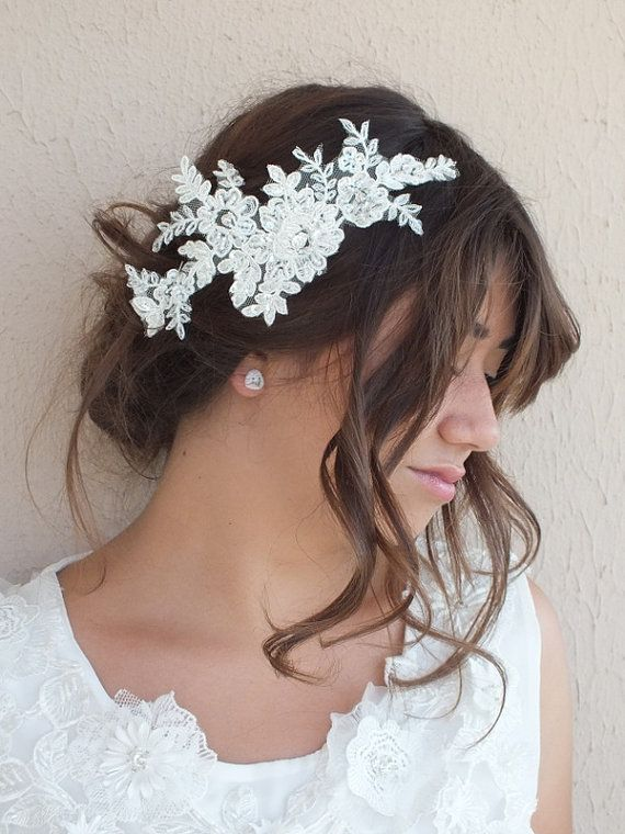 original french lace Bridal Hair Piece French Lace free