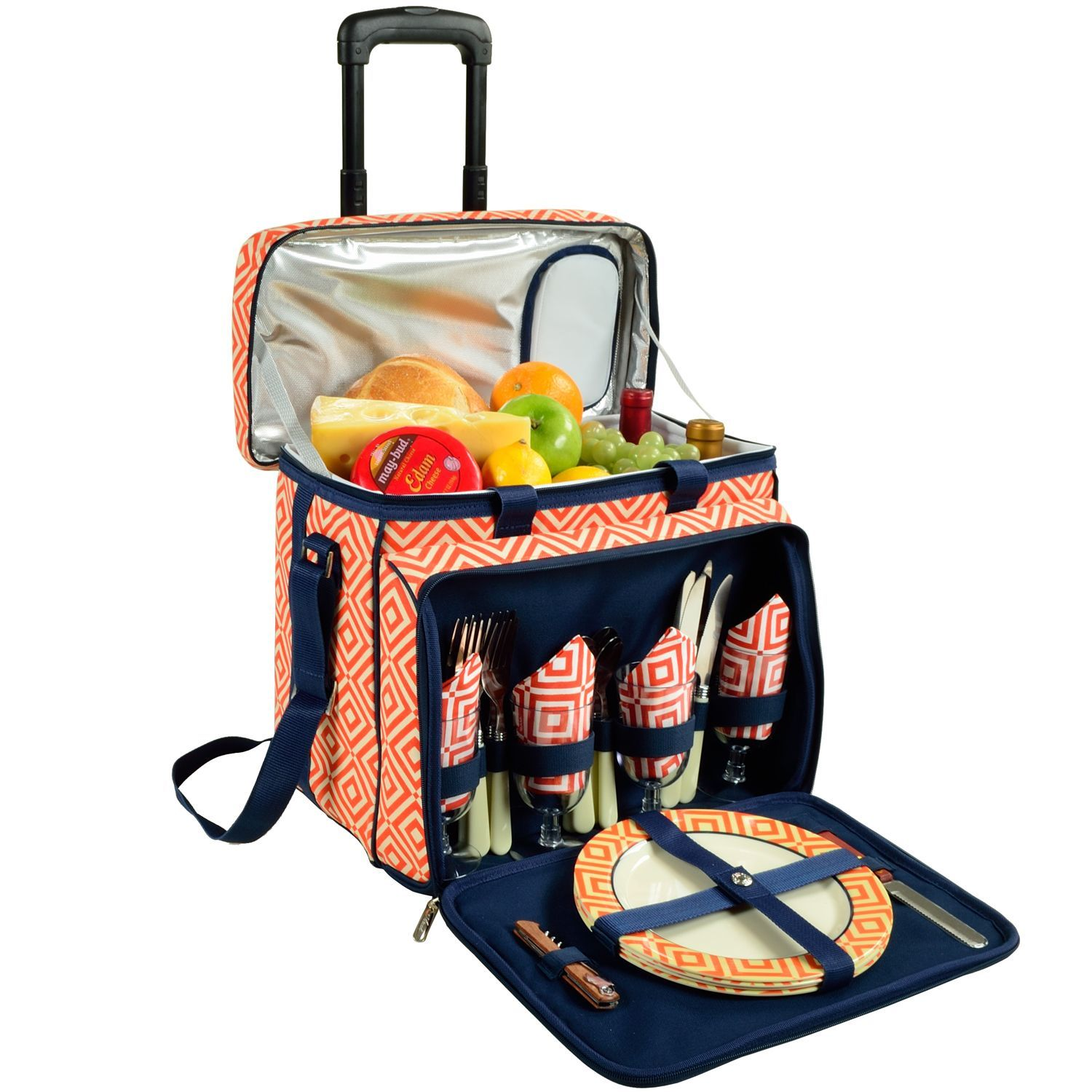 Picnic at Ascot Diamond Collection Wheeled Picnic Cooler for Four - Overstock Shopping - The Best Prices on Picnic at Ascot Coolers