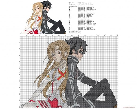 Sword Art Online Manga Anime Free Cross Stitch Pattern Cross