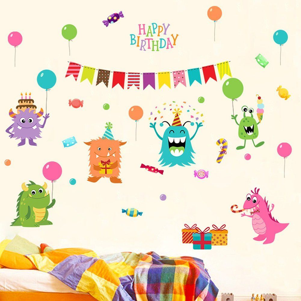 Hy Birthday Party Little Monster And Gifts Colorful