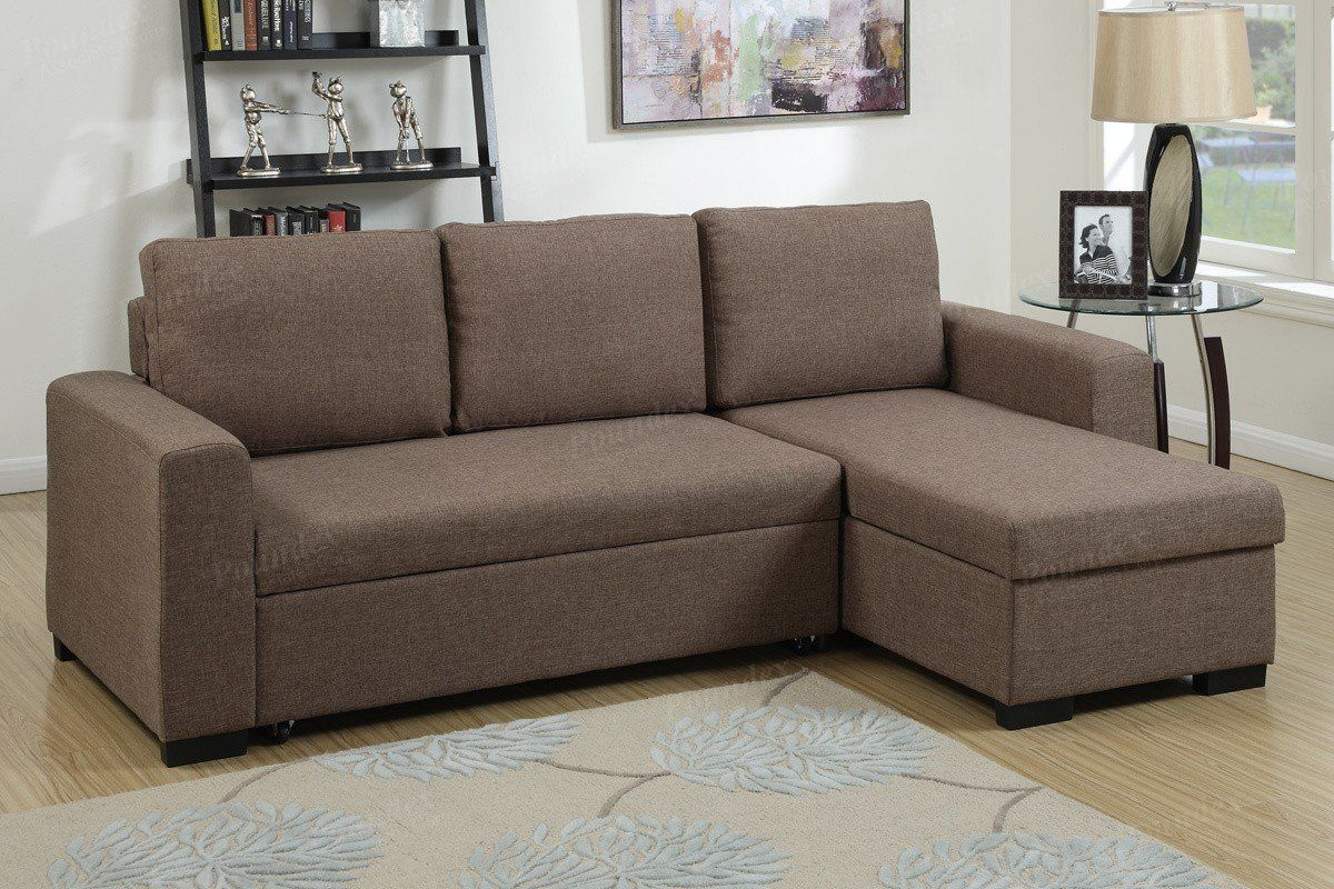 Fabric Sectional Sofas Canada Poundex F6932 2 Pcs Light Coffee Fabric Storage Chaise Sectional