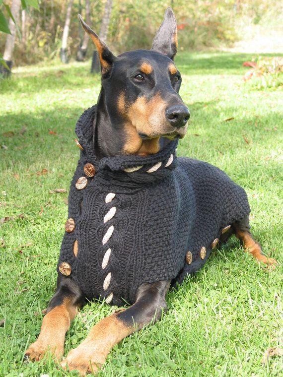 Dog Sweater Black Jack In Black Cotton For Large Breeds Dog Coats