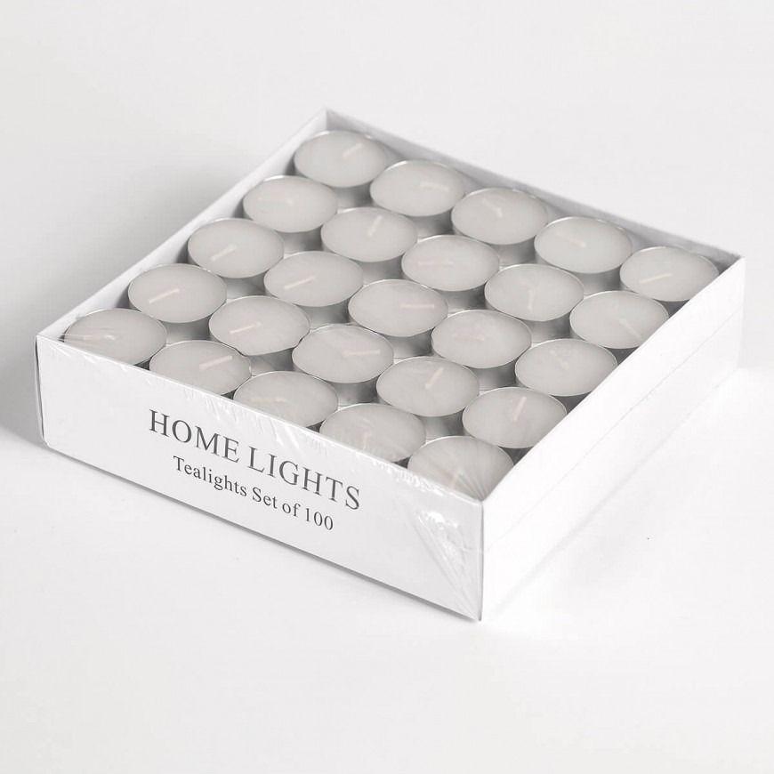 شموع صغيرة غير معطرة في حامل معدني عدد القطع 100 Candle Box Tea Lights Candles