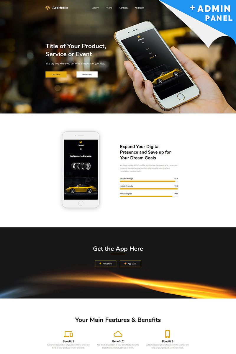 App Mobile MotoCMS 3 Landing Page Template Page template