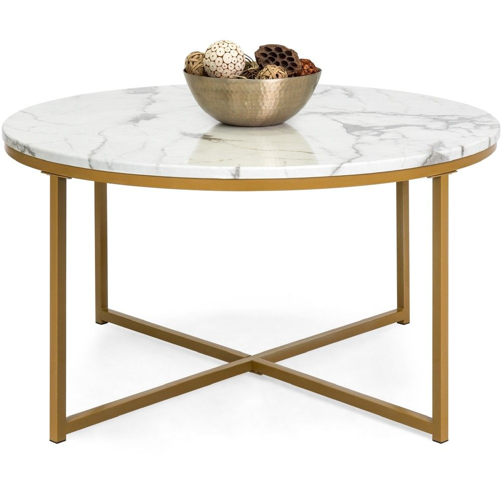 Best Choice Products 36in Faux Marble Modern Round Living Room Accent Coffee Table W Metal Frame White Bronze Gold In 2021 Round Living Room Living Room Coffee Table Living Room Table [ 1000 x 1000 Pixel ]
