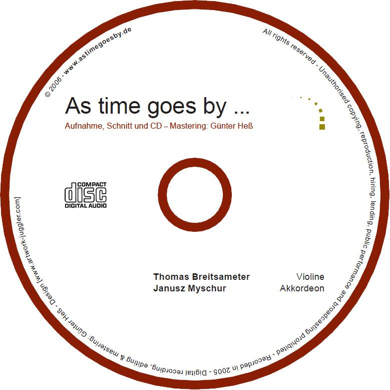 As time goes by, the album as time goes by, CD label of the first CD, produced in 2006.