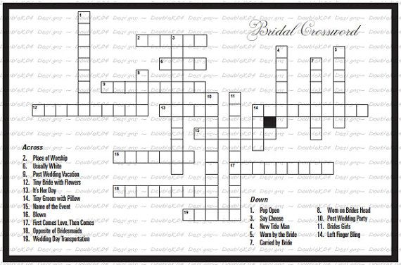 crossword puzzle for the bride groom digital file