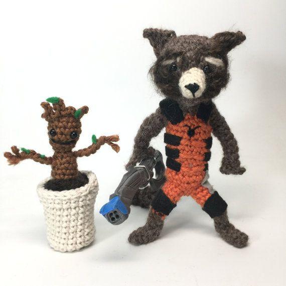 Rocket Raccoon and Free Baby Groot Crochet doll Amigurumi Pattern ...