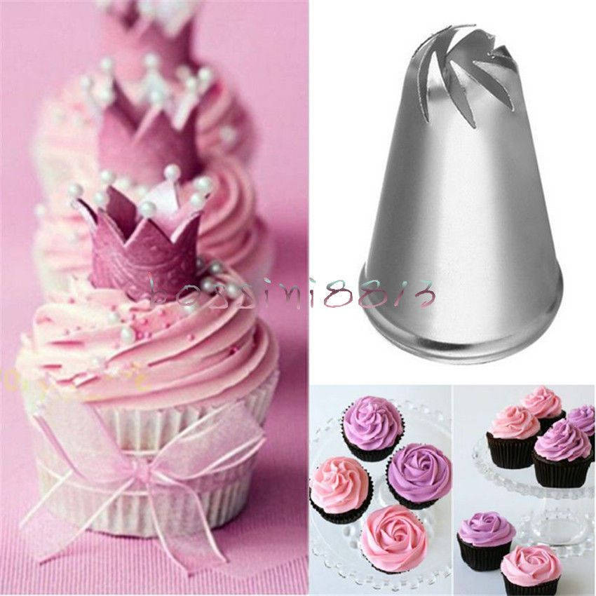 2x Drop Rose Flower Icing Piping Tips Nozzle Cake Cupcake Decorating Pastry Tool Piping Icing Cake Icing Tips Easy Cake Decorating