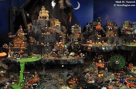 dept 56 halloween village display dept 56 snow village halloween 2009 display from bronners christmas wonderland michigan photo by mark hancock