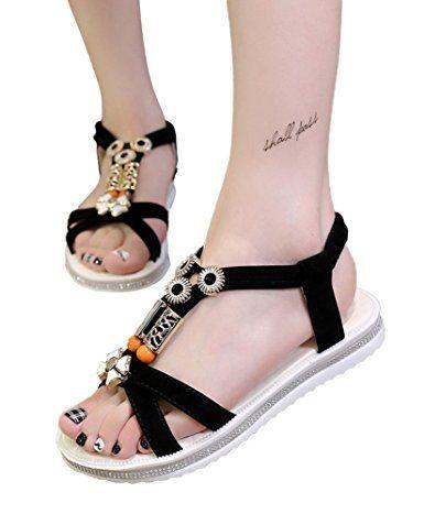 Minetom Femme Été Doux Mode Plage Plat Sandales Bohême PU Cuir Herringbone Sandals Chaussures 2XxYdBvpo
