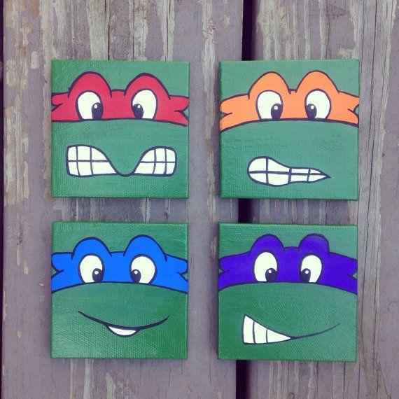 4 Piece Teenage Mutant Ninja Turtle Paintings Turtle Painting Ninja Turtles Canvas Painting Turtle Room