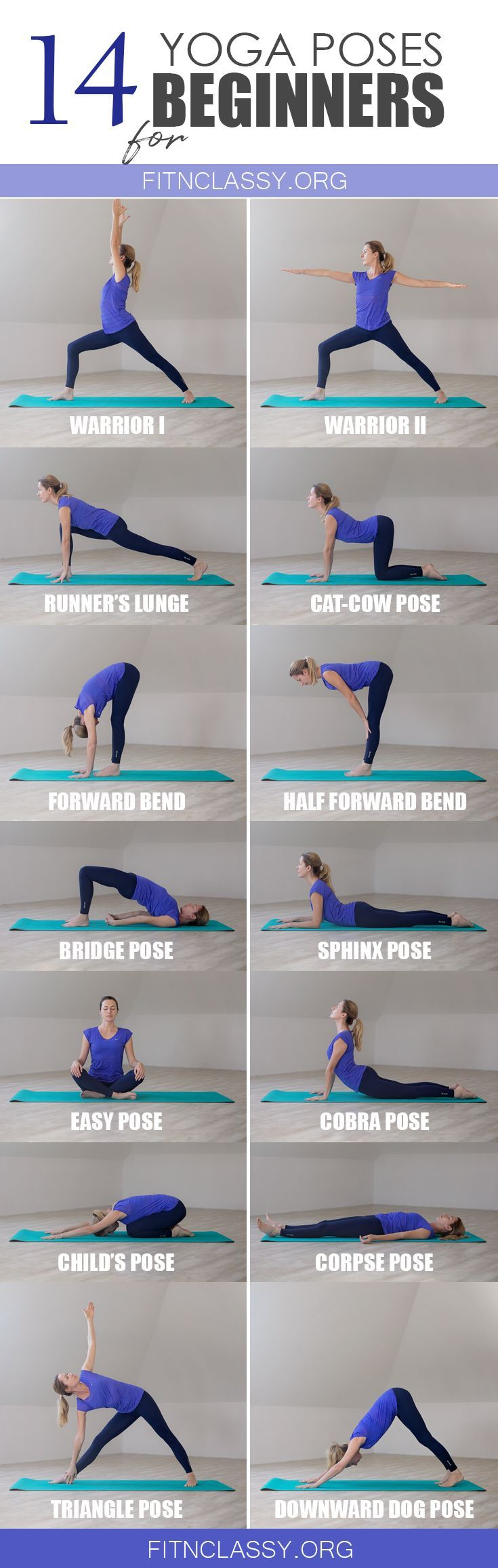 14 Yoga Poses For Beginners Fit Classy Basic Yoga Basic Yoga Poses Yoga Poses
