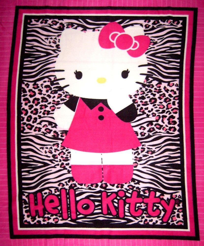 Hello kitty animal print personalized fleece blanketnew free