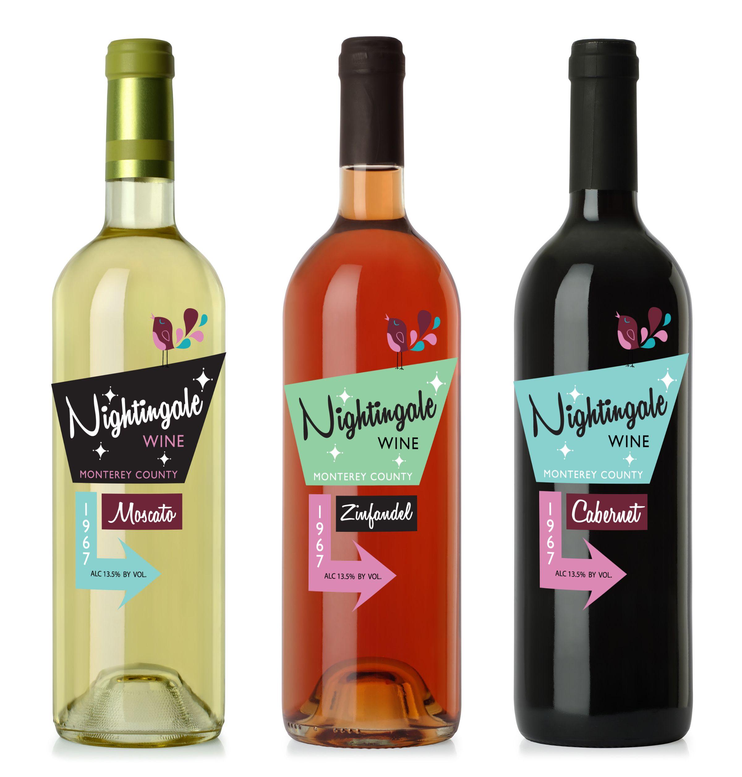 Student Project By Angela Truzinski Wine Label Designs For Nightingale Wine Wine Taninotanino Vinosmax Wine Label Design Wine Label Wine Label Collection
