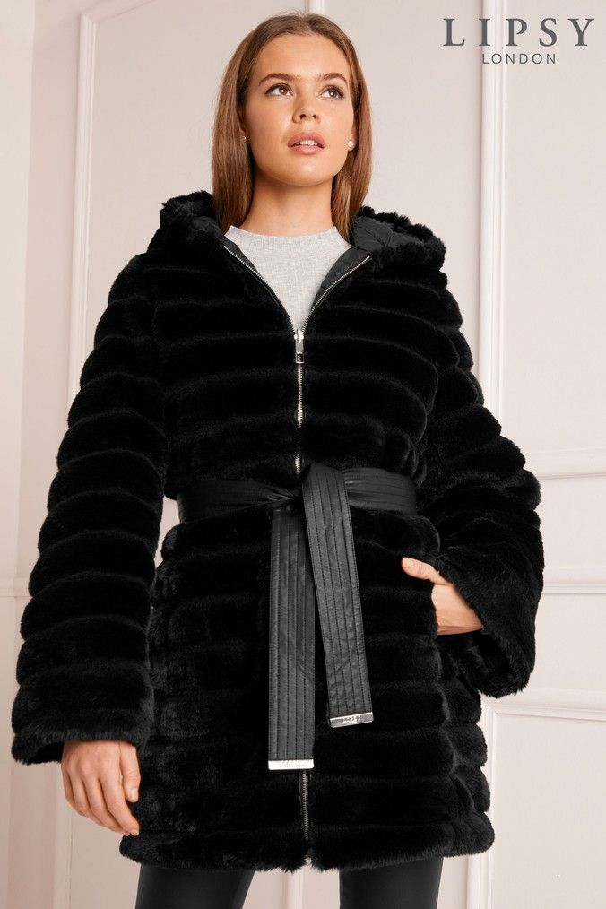 4a68ee2d30d Womens Lipsy Reversible Faux Fur Padded Coat - Black | Products ...