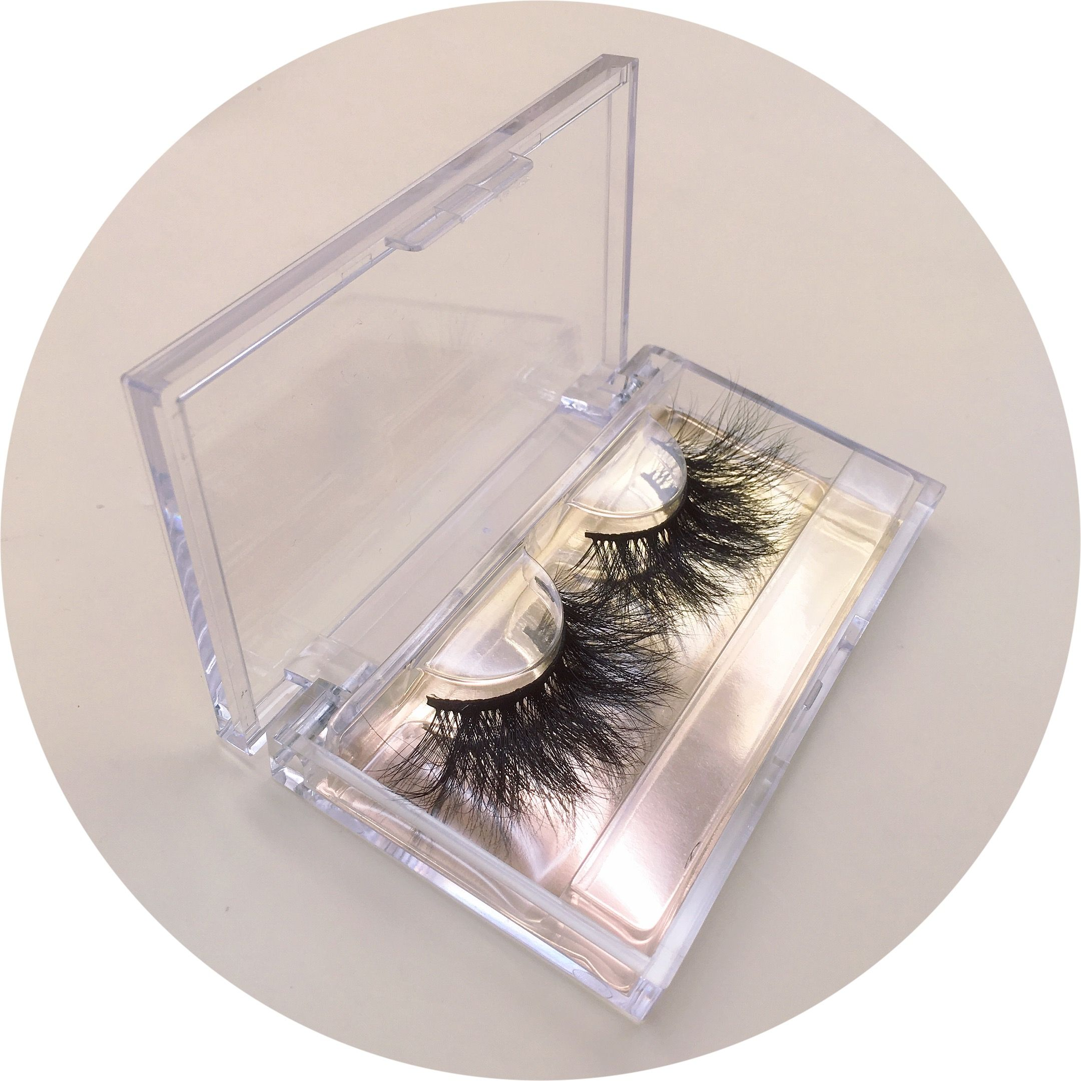 clear custom lashes packaging with colorful background