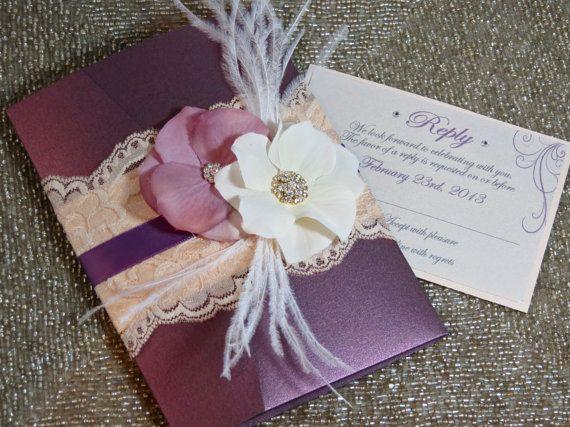 VINTAGE GLAMOUR: Lace Wedding Invitation, Plum Wedding Invitation, Purple  Wedding Pocketfold Invitation, Vintage Wedding Invitation, Blush