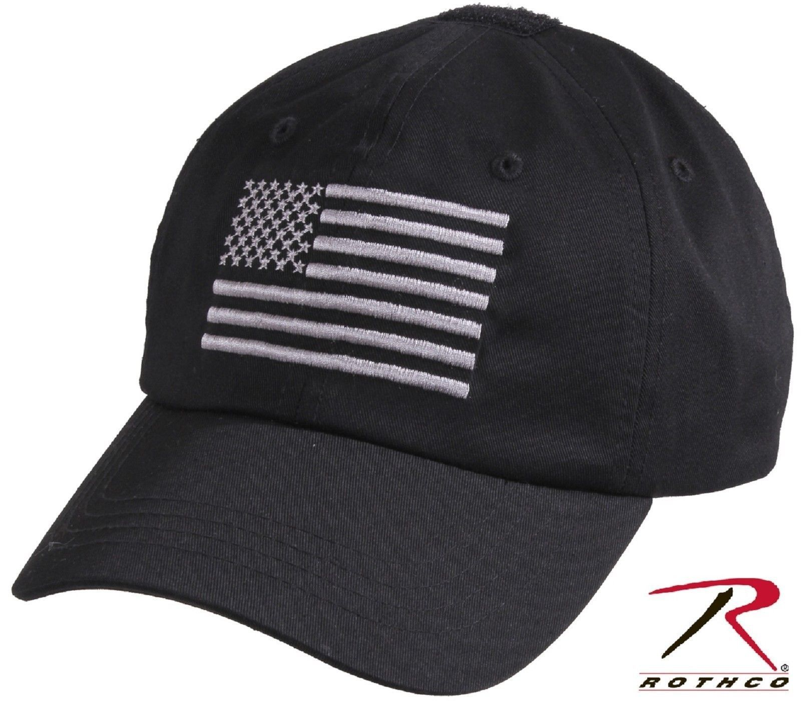2b13d9ec9d0 Black   Silver USA Flag Tactical Operator Cap - Embroidered American Flag  Hat