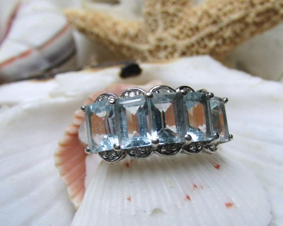 Sterling Silver Aquamarine and Diamond Ring 2.92 by EverythingIOwn, $60.00