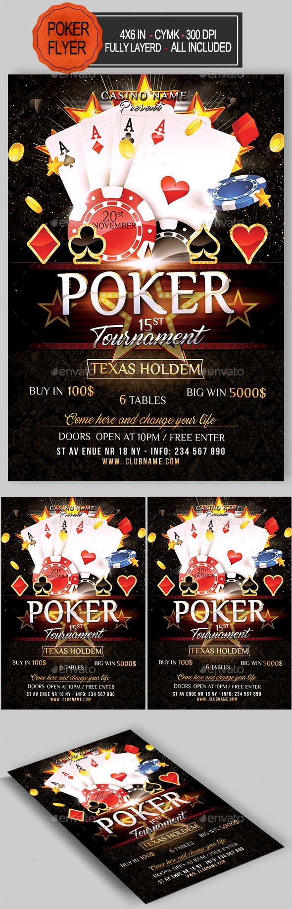 poker tournament flyer template psd