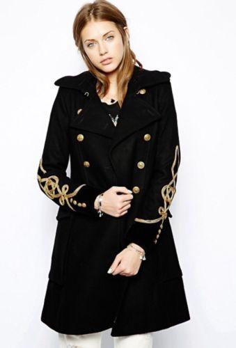Denim-Supply-Ralph-Lauren-Women-Wool-Military-Army-Officer-Band-Long-Coat- Jacket