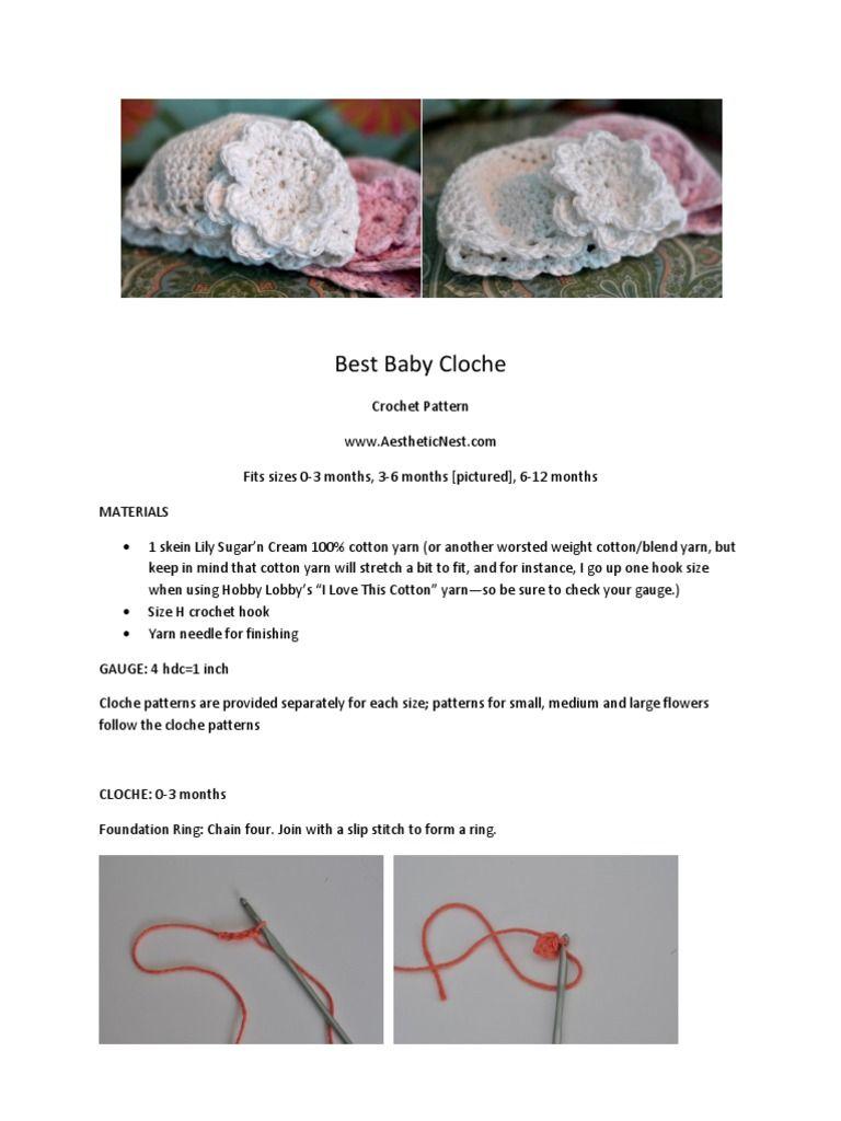 Crochet pattern for baby cloche. Baby hat pattern for crochet ...