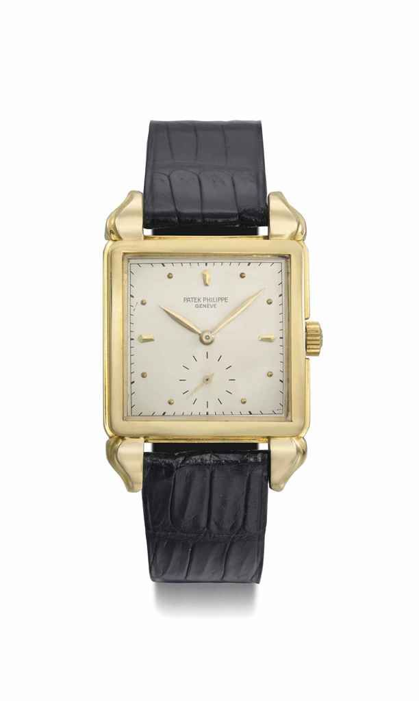 a2b352eab29 Patek Philippe. A fine and unusual 18K gold square wristwatch with fancy  lugs and original certificate