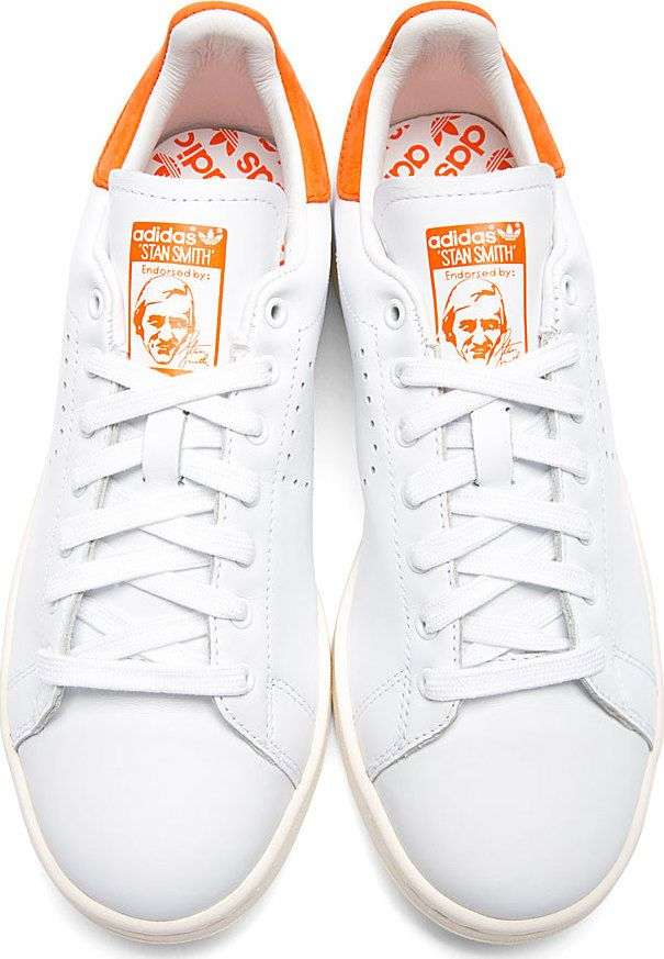 eea52ad31cd Raf Simons X Sterling Ruby: White & Orange Stan Smith Adidas Edition  Sneakers
