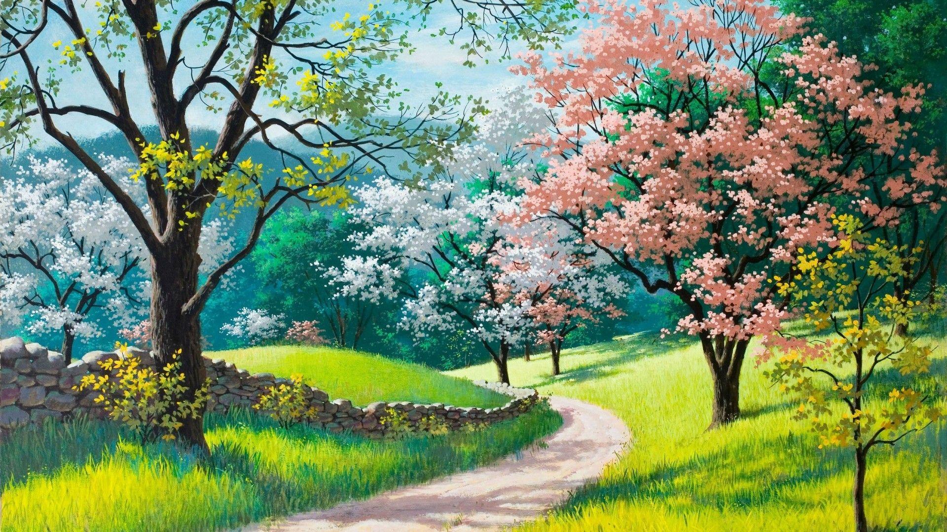Spring Nature Desktop Wallpaper Spring Landscape Landscape Paintings Spring Painting