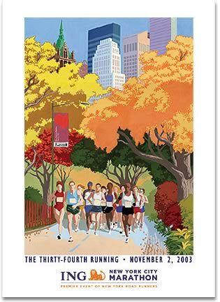 Running Past The 2003 New York City Marathon Poster Marathon Posters New York Poster Running Photography