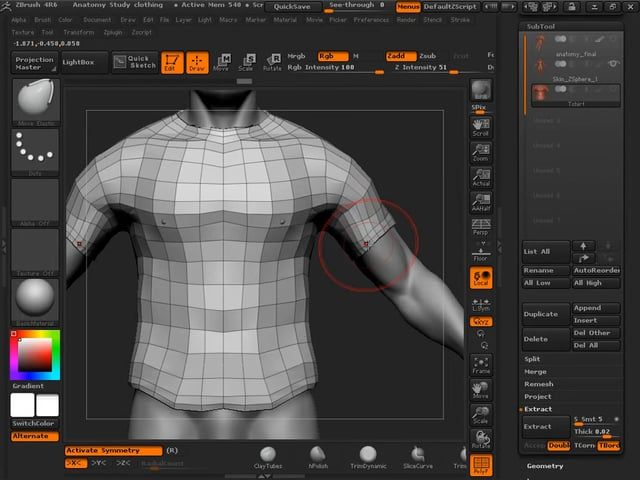 zBrush tutorial: Mesh extraction and zRemesher.from XY01
