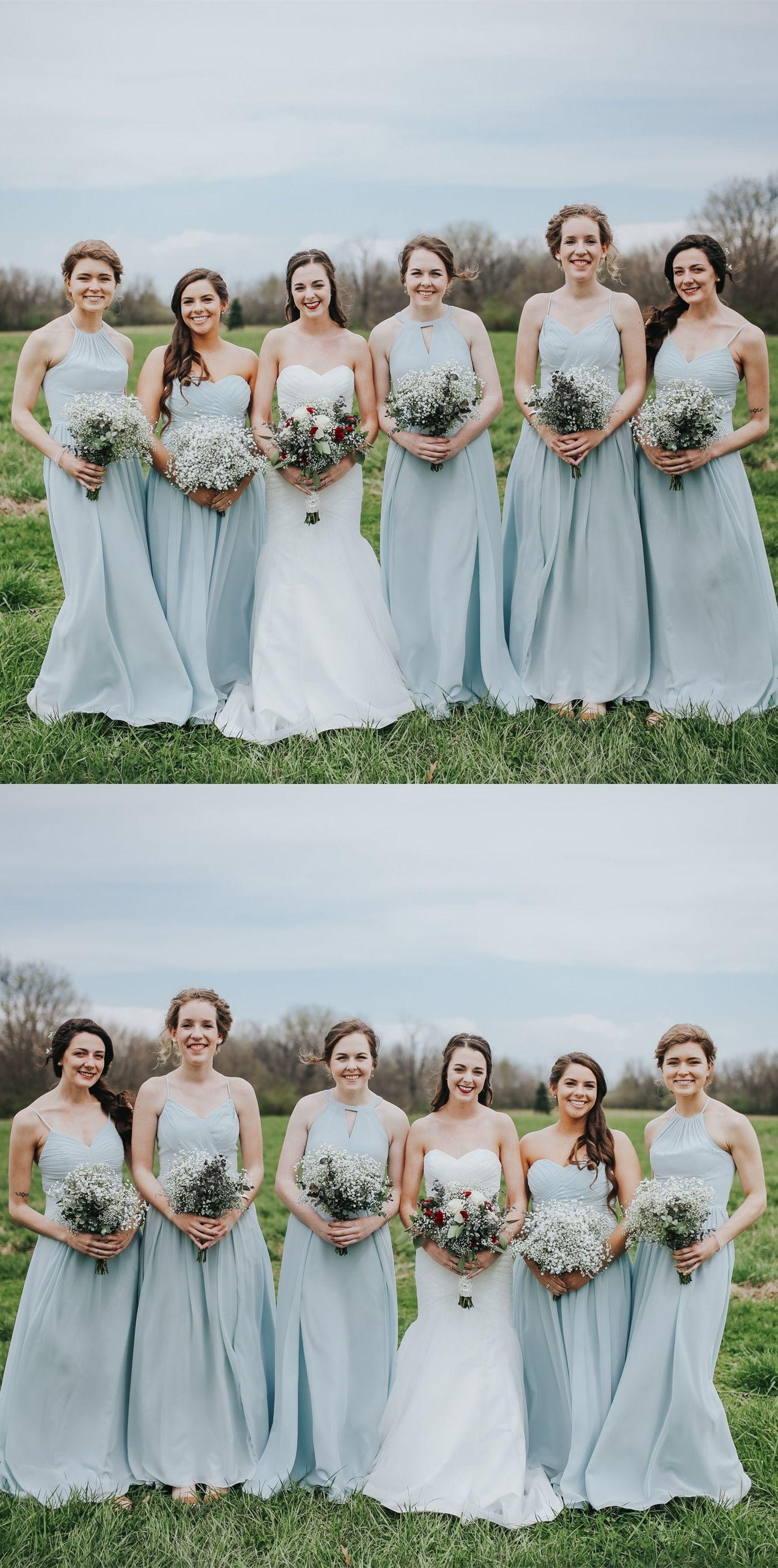Aline round neck floorlength light slate gray chiffon bridesmaid