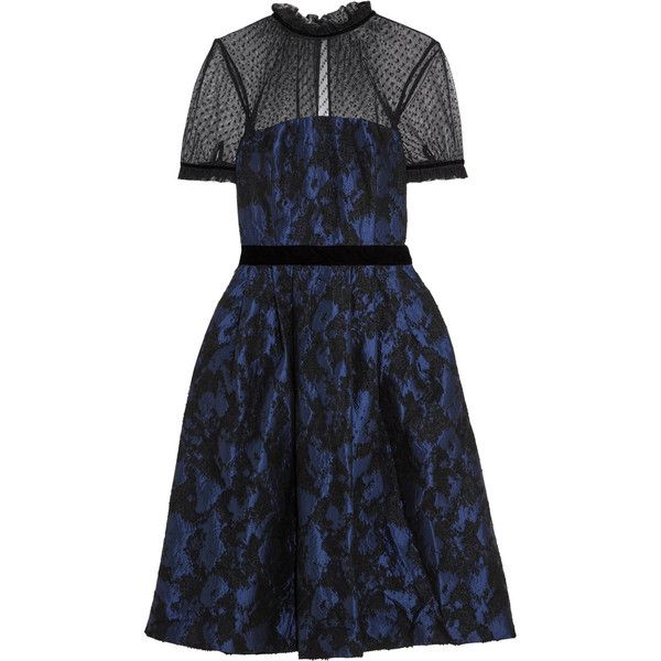 Perseverance Swiss-dot tulle-paneled jacquard midi dress (300 SGD) ❤ liked