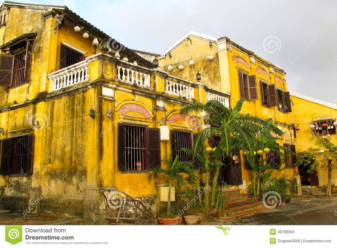 Yellow Colonial House Hoi Vietnam Interesting French Style
