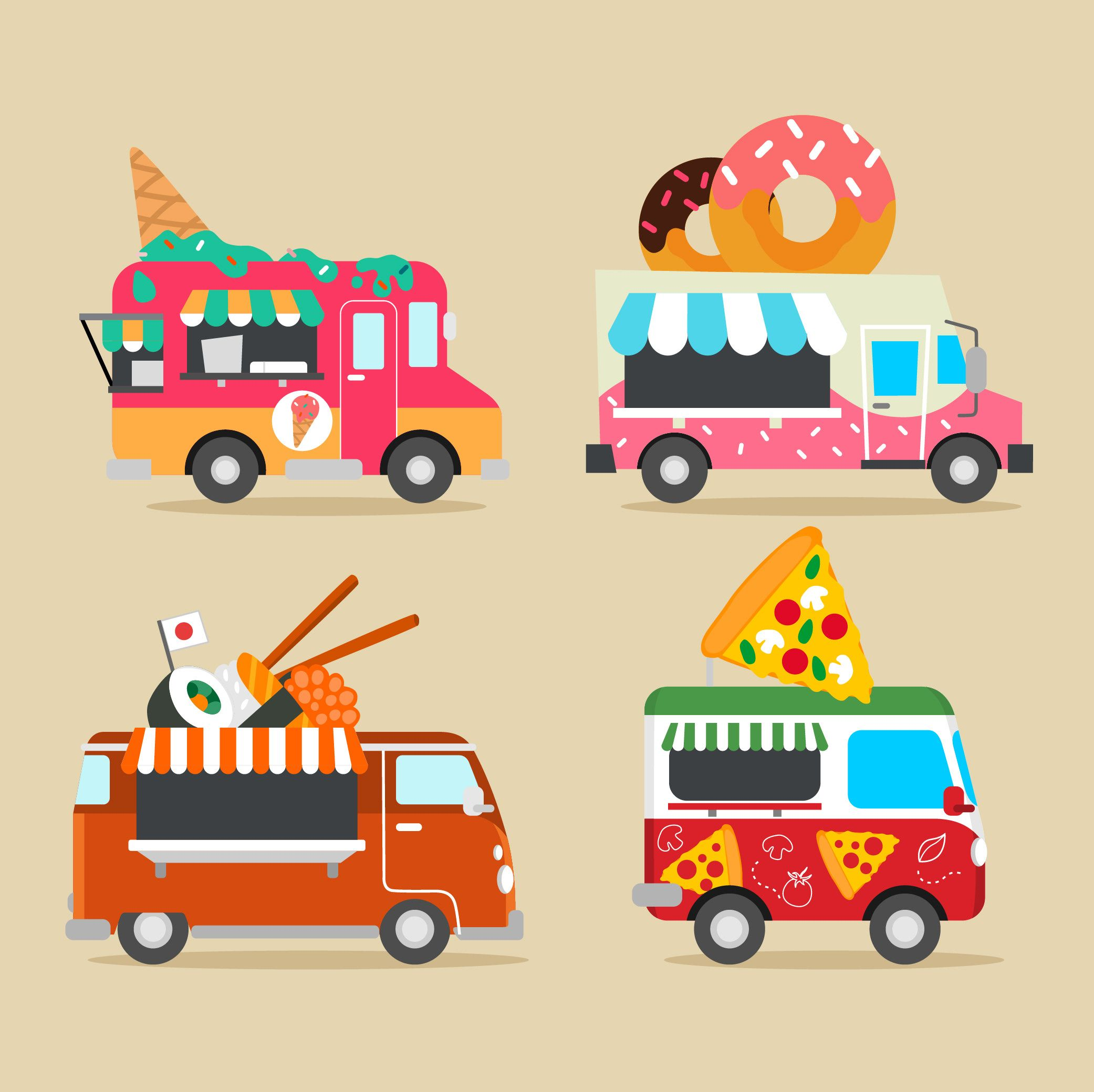Icon Design Flat Food Truck Collection Icondesign Iconideas