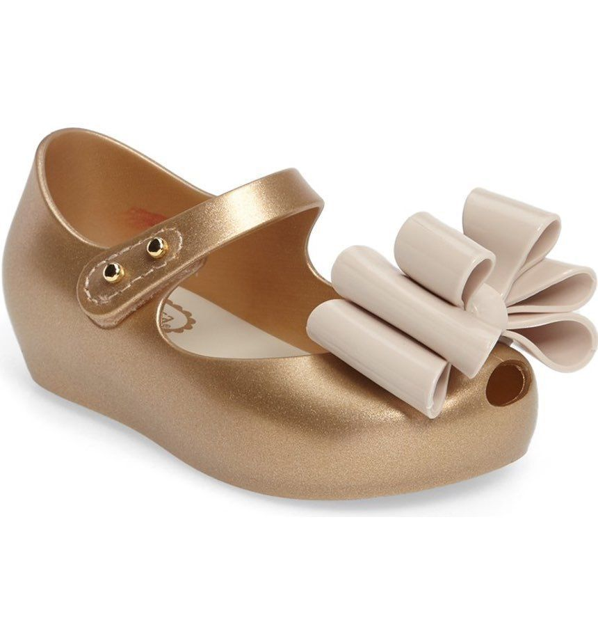 Mini Melissa Ultragirl Sweet III Mary Jane Flat- Gold Glitter Size 6  Toddler #Melissa