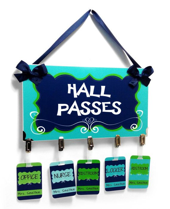Simple And Elegant Themed Classroom Hall Passes Sign