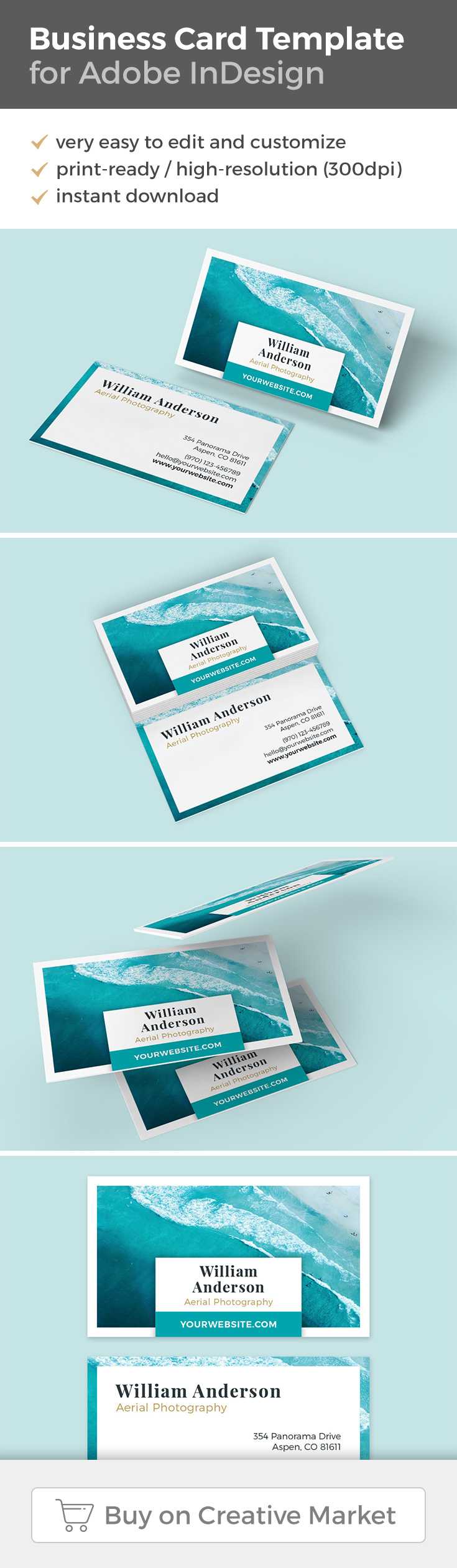 Beautiful Business Card Template for Adobe InDesign with an ocean     Beautiful Business Card Template for Adobe InDesign with an ocean theme