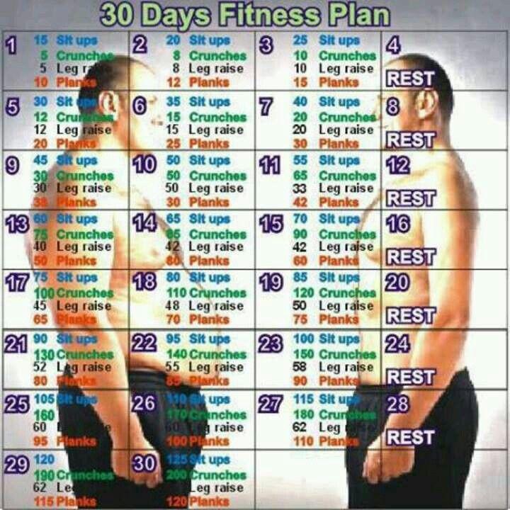30 days fitness plan! | Motivate ME Pls! | Pinterest | Weight loss ...