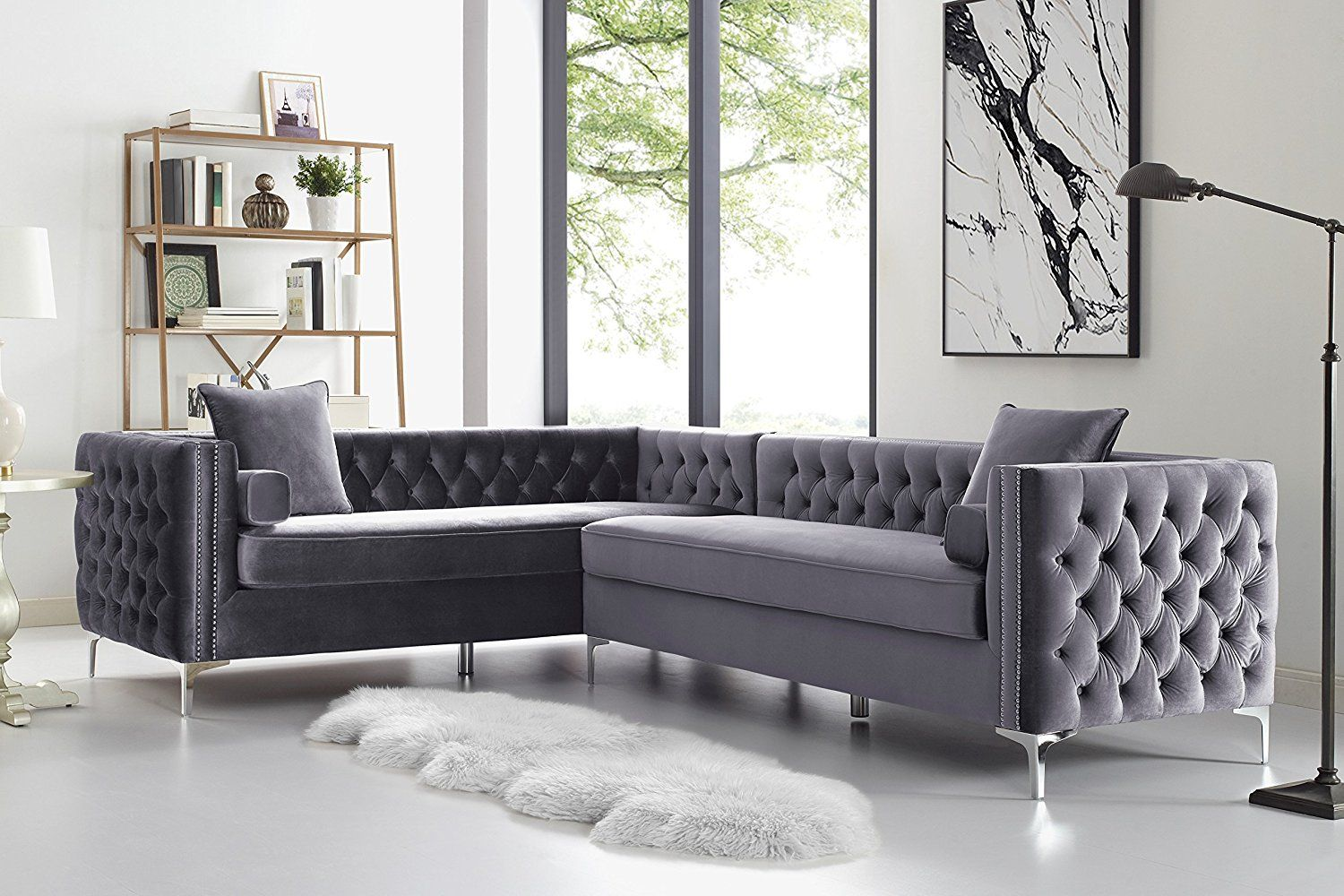 Amazon Com 120 Navy Blue Corner Sectional Sofa Button Tufted Silver Nail Head Trim Metal Y Legs Left Corner Sectional Sofa Sectional Sofa Sofa Design