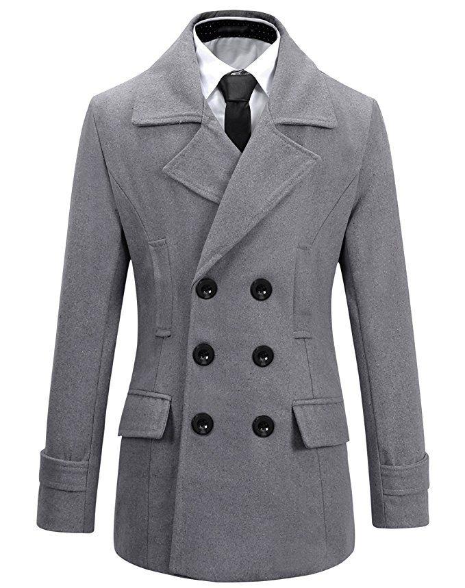 9531bf81208e Benibos Mens Wool Slim Fit Double Breasted Half Trench Coat (Grey ...