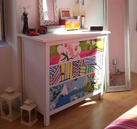 Comoda malm ikea redecorada para decorar cuarto bebe for Papel para decorar muebles