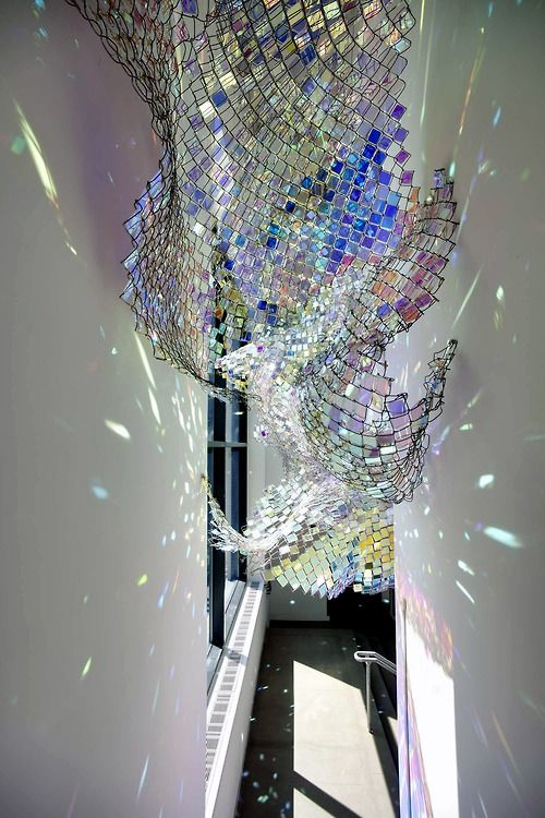 Soo Sunny Park - Capturing Resonance (2011)  Depending on the time of day, rainbow hued shadows fill the Window Gallery, shifting from crisp representations of the structure to abstract color washes. (Photo by Peter Harris courtesy the de Cordova Museum)