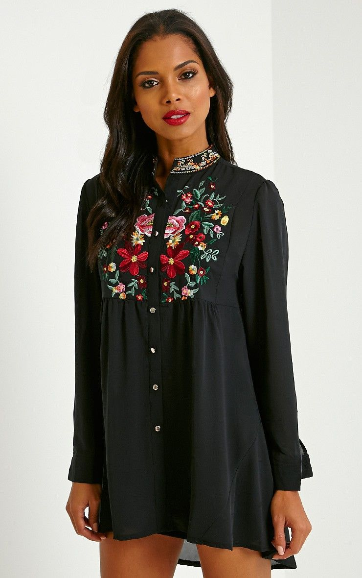 Exie Black Embroidered Sheer Shirt Dress Image 1